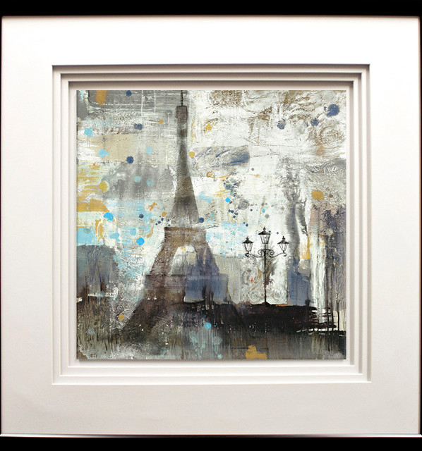 """eiffel Tower Netural"" Artwork By Albena Hristova, Black Molding, 29""x29""."