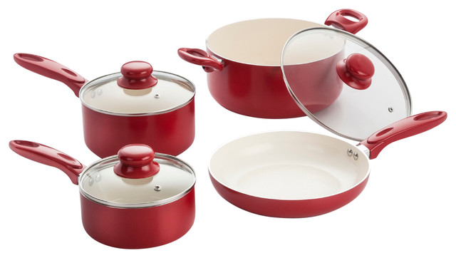 7 Piece Aluminum Cookware Set With Ceramic Non-Stick Coating.