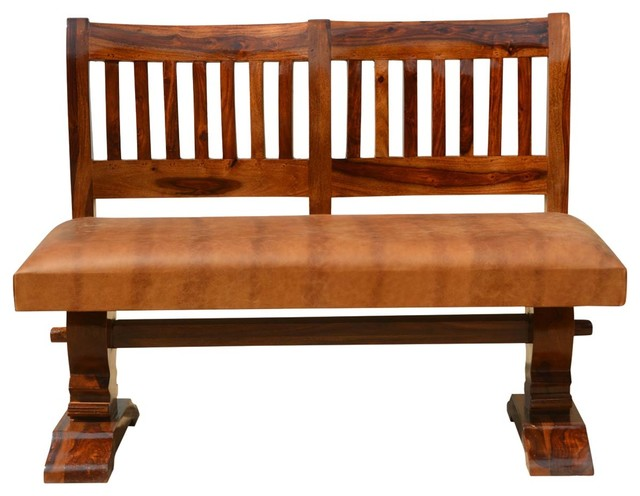 Nottingham Solid Wood And Leather Trestle Upholstered Bench. -1