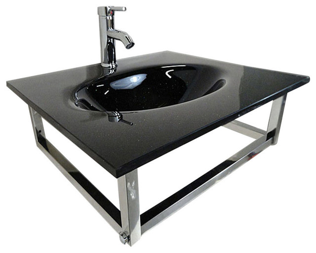 24 Modern Bathroom Wall Mount Black Tempered Vessel Sink Top Combo Contemporary Bathroom