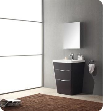 "Fresca Milano 26"" Bathroom Vanity, A Chestnut Finish, Medicine Cabinet, Faucet."