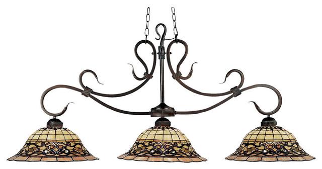 3 Light Billiard Island Vintage Antique Tiffany Style