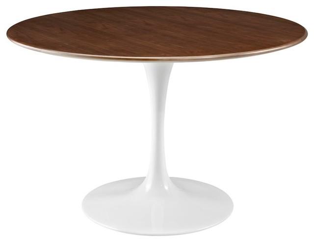 "Lippa 47"" Round Walnut Dining Table."