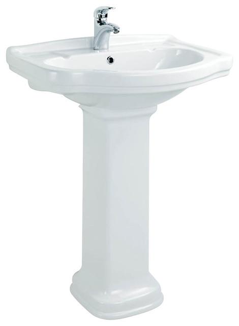 klassic 65 250 free standing pedestal bathroom sink in ceramic 25 9 x 19 8 contemporary. Black Bedroom Furniture Sets. Home Design Ideas