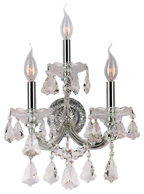 Maria Theresa 3 Light Chrome Finish Crystal Candle Wall Sconce Light - Transitional - Wall ...