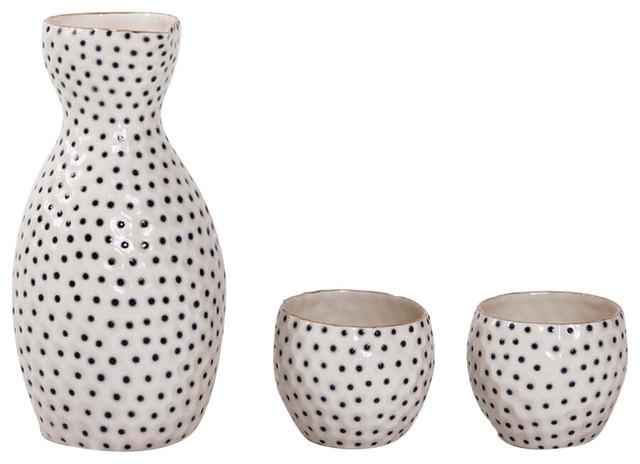 Nucleolus Gold Sake Cups and Jug, Set of 3