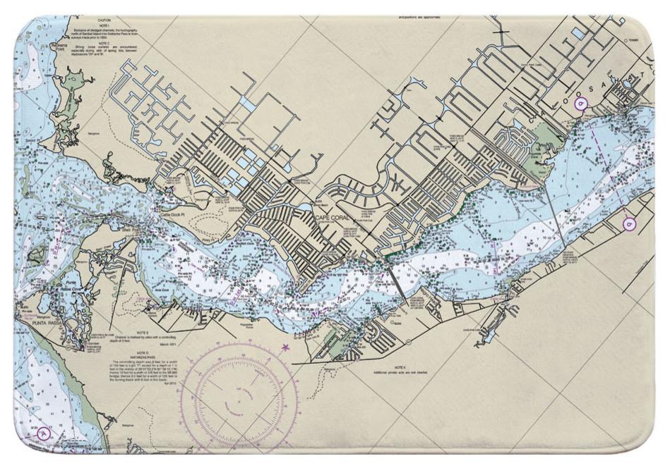 Fl Cape Coral Fl Nautical Chart Memory Foam Bath Mat Contemporary Bath Mats By Island Girl Home Inc