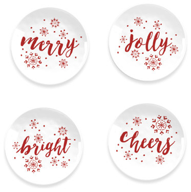 """Holiday Cheers Coupe 8.5"""" Salad Plate, Set Of 4"""