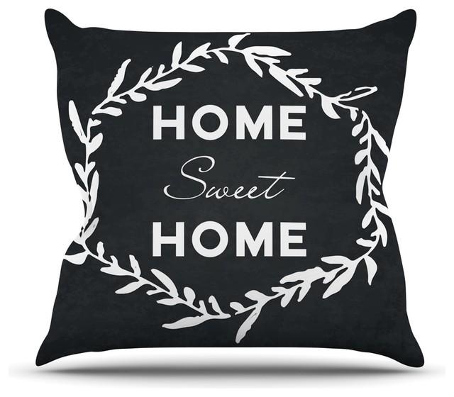 kess original home sweet home black white throw pillow indoor 18 - Black And White Decorative Pillows