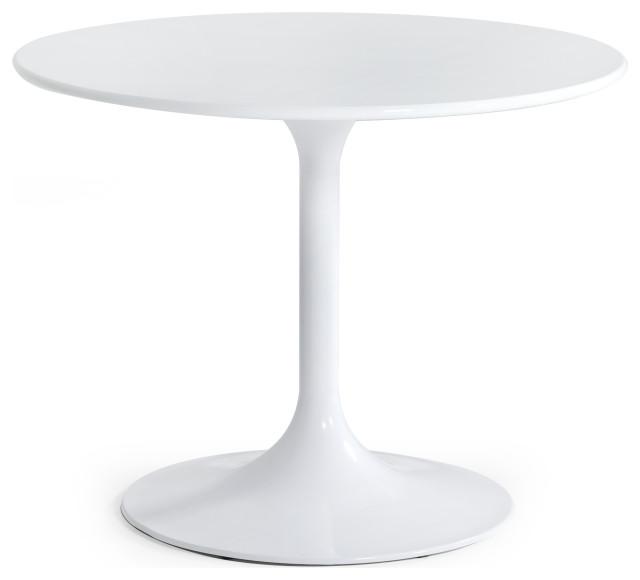 Modrest Karen Mid Century White Round, White Round Table