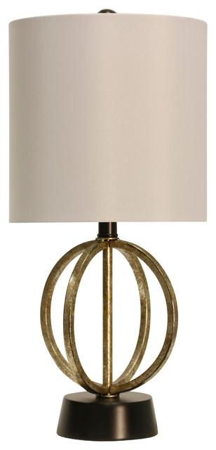 Laslo Table Lamp, Gold And Satin Black Finish, White Hardback Fabric Shade.