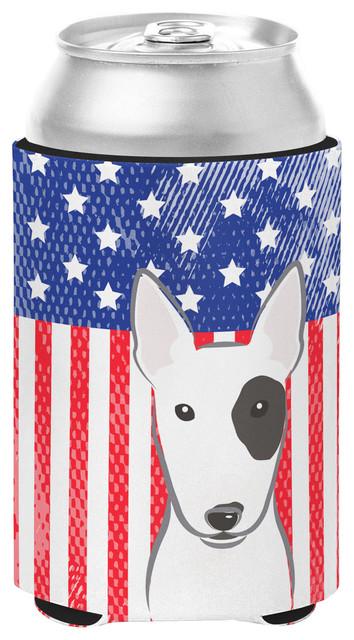 American Flag And Bull Terrier Can/bottle Hugger.