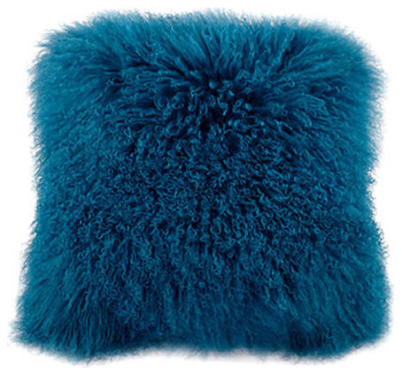 "Mongolian Lamb Fur Pillow Blue 20x20""."