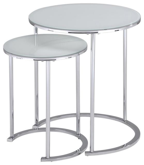 2-Piece Chrome And Glass Nesting Table Set