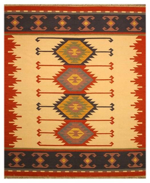 Southwestern Large Area Rug: EORC - Handmade Wool Ivory Keysari Kilim Rug & Reviews