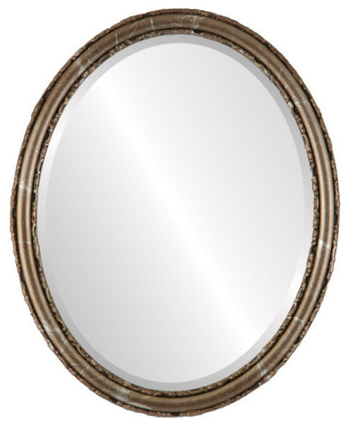 """Virginia Framed Oval Mirror In Champagne Silver, 21""""x25""""."""