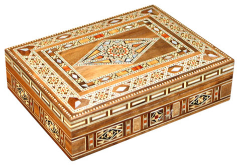 Syrian Walnut Mosaic Jewelry Box With Mother-of-Pearl Inlay  traditional-jewelry-