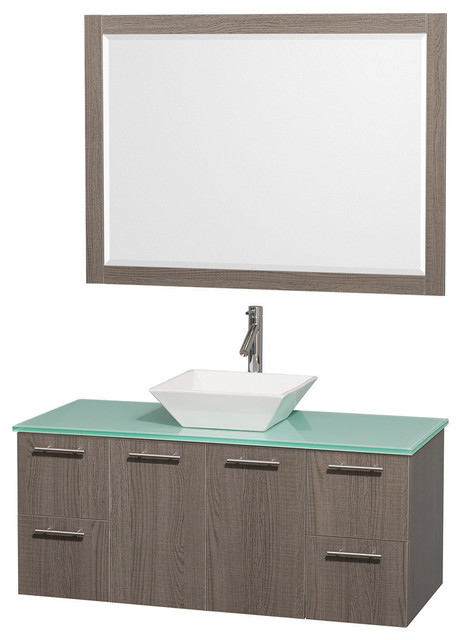 48 Single Bathroom Vanity, Green Glass Top, Sink, And 24 Mirror.