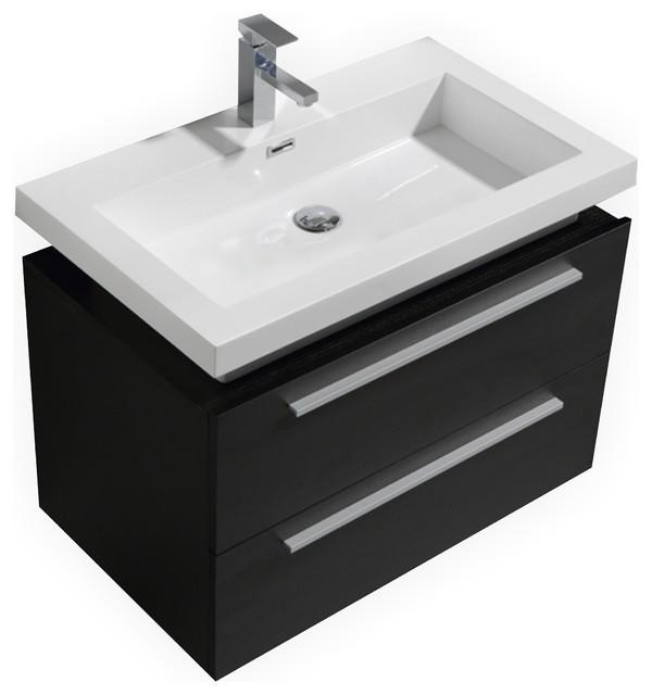 "Bathroom Vanity Black kubebath tona 32"" wall mount modern bathroom vanity - modern"