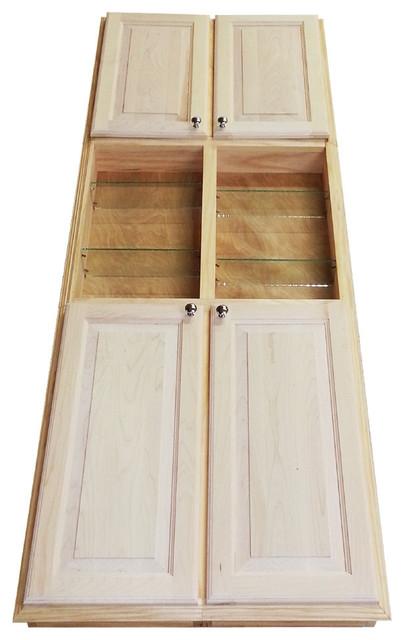 78 Recessed Double Door Baldwin Pantry Storage Cabinet With Open Shelf 3.5d.