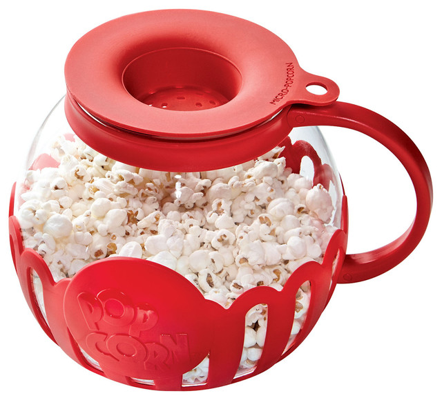 Micro-Pop Microwave Popcorn Maker - Food Safe Glass and Silicone Carafe