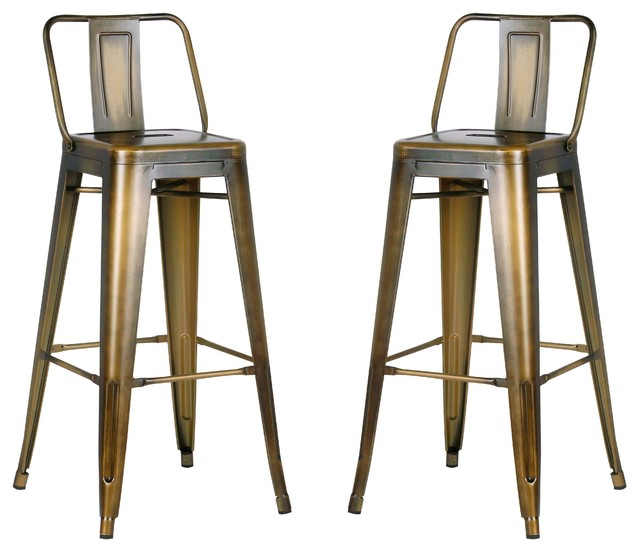 Ac Pacific Corporation Distressed Metal Barstool With Back