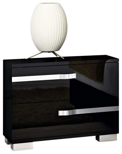 8c81787a9e90 Volare Black 2-Drawer Nightstand - Modern - Nightstands And Bedside ...