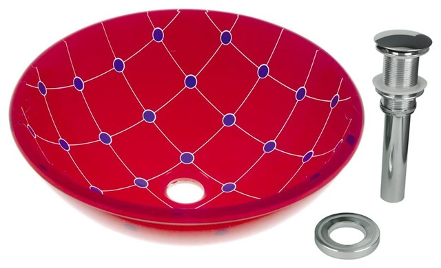 Spiderweb Tempered Glass Vessel Sink With Drain, Red-Blue Double Layer Bowl Sink.