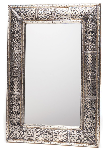 "24"" Handcrafted Metalwork Moroccan Mirror, Handmade In Morocco."
