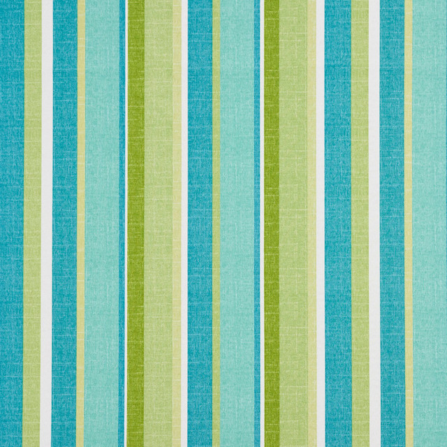 Green Blue And White Striped Outdoor Indoor Upholstery Fabric By