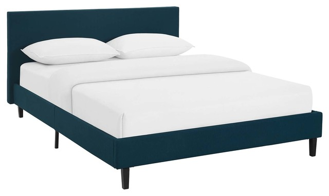 Anya Queen Upholstered Fabric Bed, Azure