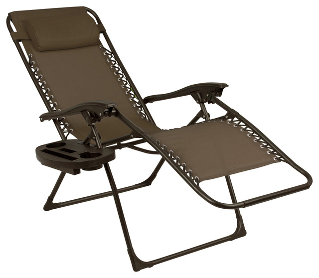 2-Piece Sling Lounge Chair Set, Brown.