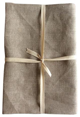 Shoo-Foo 100% Natural Linen Bath Sheet, Classic Stripe Design, Plain Natural