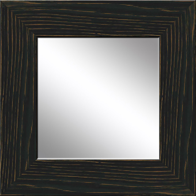 Black Recovered Wood Mirror Rustic Wall Mirrors By