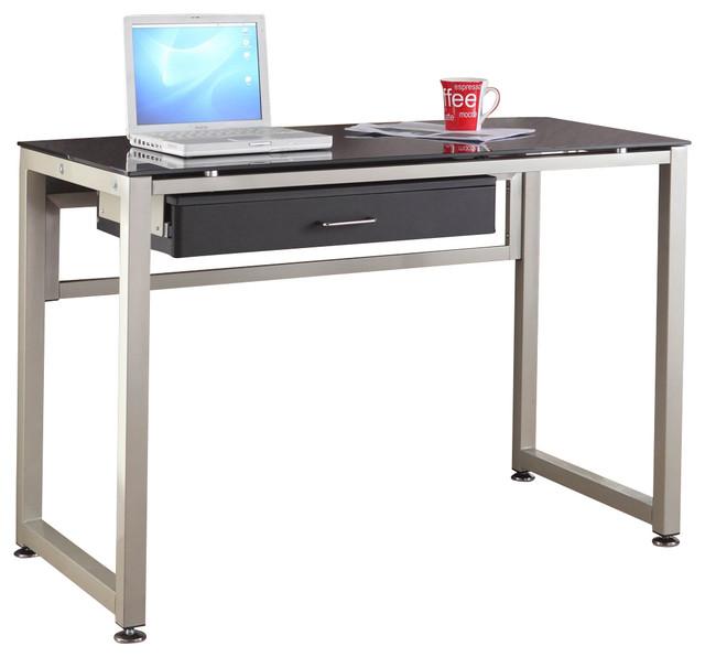 homelegance network 44 inch metal computer desk with black glass top desks and hutches black metal computer desk