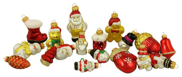 18-Piece Assorted Glass Figure Christmas Ornament Set ...