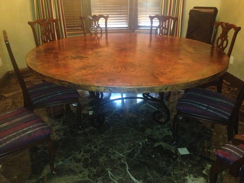 what kind of chairs for a copper dining table - Copper Kitchen Table