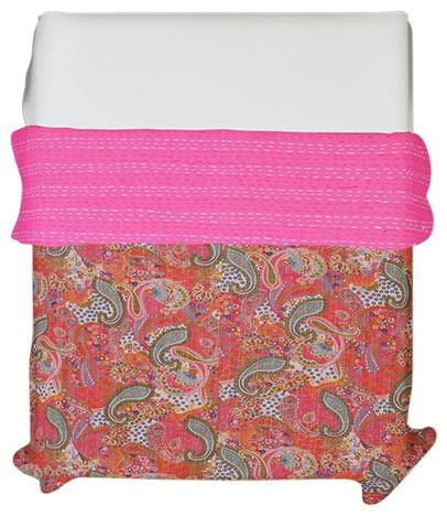 Indian Kantha Handmade Quilt Throw Made Of Cotton Hand Block Print Natural Dye