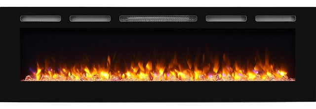 "PuraFlame Alice 68"" Recessed Electric Fireplace, Wall Mounted 2x6 Stud"