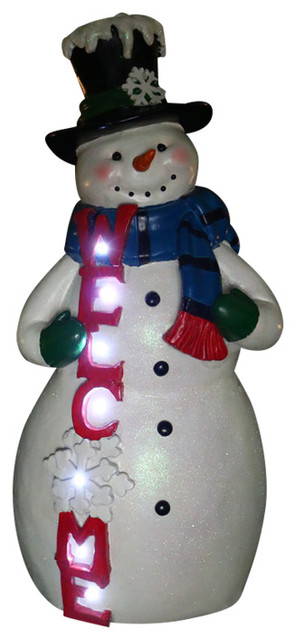 christmas snowman welcome statue with led