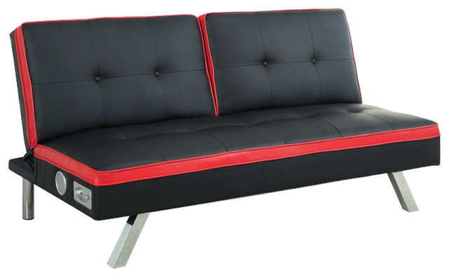 Harley Black And Red Leatherette Futon Sofa Bed With Bluetooth Speakers