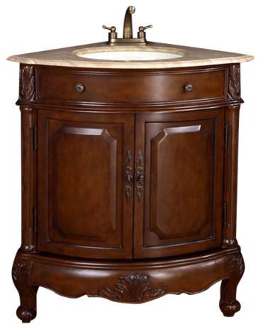 Louis Single Sink Bathroom Corner Vanity, Travertine Top, 32.