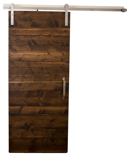 Horizontal Panel Sliding Barn Door Rustic Interior