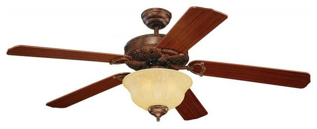 Three Light Bronze Ceiling Fan.