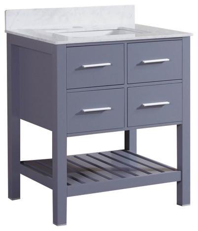 """30"""" Gray Bathroom Vanity With Marble Top & Backsplash, Single Hole Sink Top"""