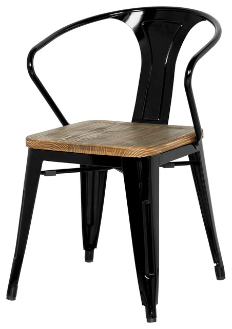 Grand Metal Arm Chair Set Of 4 Industrial Dining Chairs By Apt2B