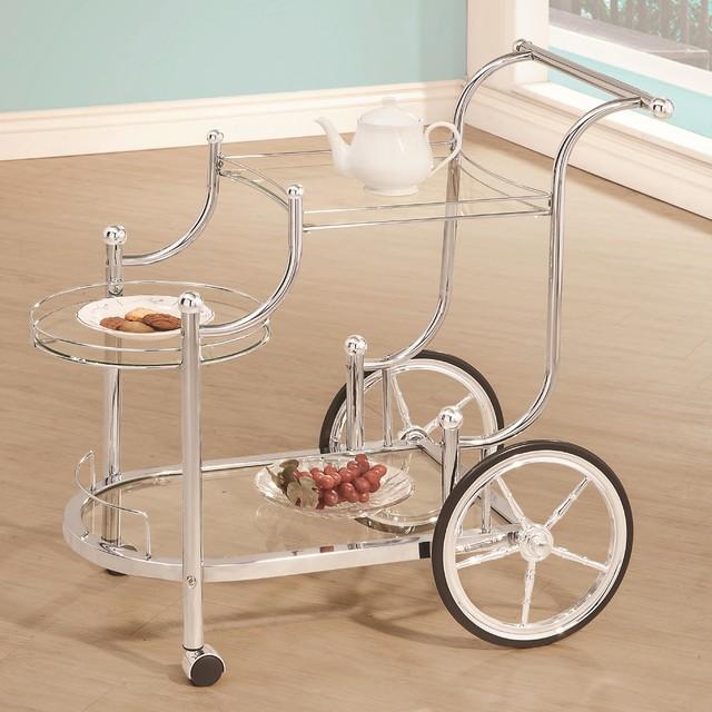 Coaster Serving Cart, Chrome Finish 910076.