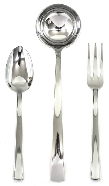 3 Piece Serving Set Fork Spoon And Ladle Levantina Contemporary Serving Utensils By Virventures
