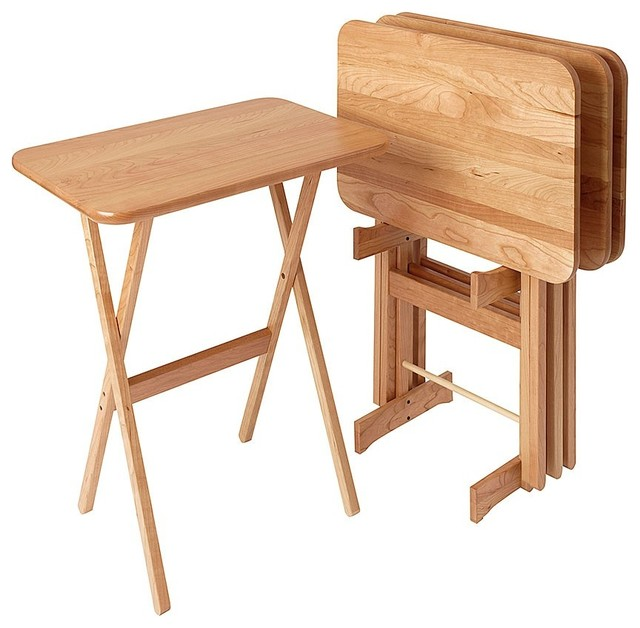 Large Rectangular Cherry TV Tray Table, Set Of 4, Natural Cherry