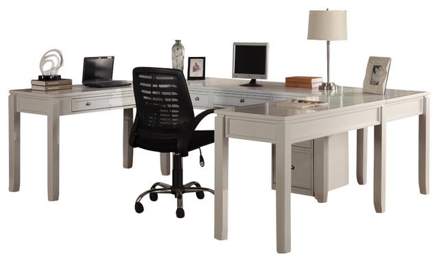 Boca 5-Piece U-Shaped Desk, Cottage White.
